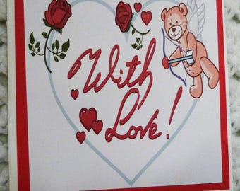 Heart with Bear With Love Valentine  Greeting Card, Handmade Green Card, Made in the USA, #333
