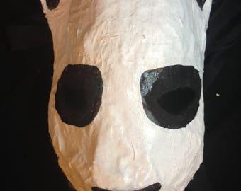 sad panda animal mask dark meme art wearable mask handpainted creepy cool trickster cosplay half-mask quality gift mask costume mask
