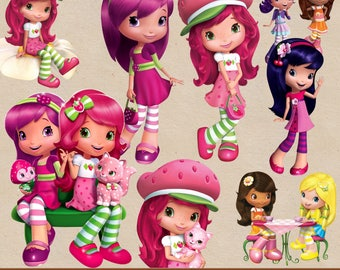 STRAWBERRY SHORTCAKE clipart png, digital clipart, digital print, png file, transparent backgrounds, cartoon clipart,  printable images