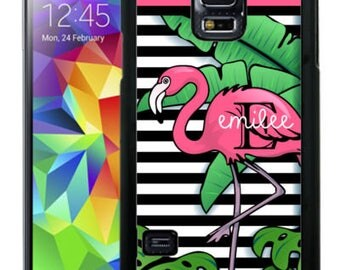 Personalized Rubber Case For Samsung S5, S6, S6 edge, S6 Edge Plus, S7, S7 Edge,  8, 8 plus -  Tropical Flamingo