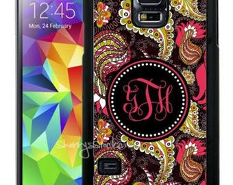 Monogrammed Rubber Case For Samsung Note 3, Note 4, Note 5, or Note 8- Pink Black Lime Paisley