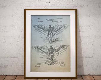 Flying Machine Patent Art Print, Flying Man Quirky Patent, Spalding Patent Poster, Wings Patent Home Decor, Wall Art, Bizarre Patent,IAP0018
