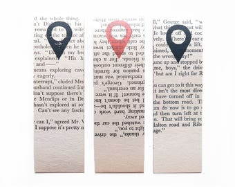 Linocut bookmark–you are here bookmark–vintage page bookmark–bookmark–book accessories