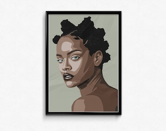 Rihanna, I-D Magazine Cover, Fan Art, instant download, vector graphic, illustration, Gift for her, christmas gift, printable, home decor,