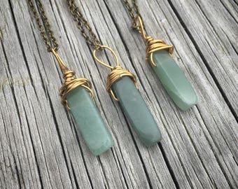 Aventurine Necklace, Aventurine Jewelry, Crystal Necklace, Crystal Jewelry, Jewelry, Boho Jewelry, Green Aventurine Stone, Aventurine Stone