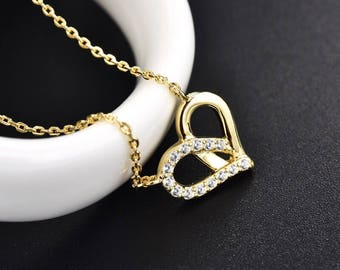 Heart Necklace silver 925 with 18k gold plating
