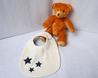 Baby towel bib star gold fabric and Navy Blue on ivory sponge