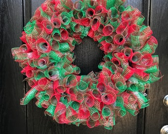 Christmas Decomesh Wreath
