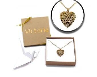 Vintage Heart Locket, Locket Necklace, Heart Shaped Lockets, Picture Locket, Memory Locket, Lockets for Women, Heart Necklace, Personalized