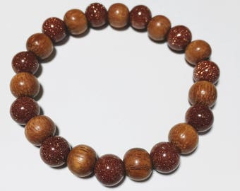 8mm Red Goldstone & Wooden Beads