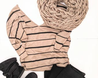 Women's Tan Scarf | Neutral Scarf | Woman's Tan Infinity | Gifts for Friends | Tan Arm Knit Scarf | Neutral Colored Scarf |