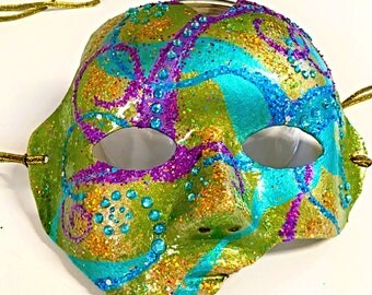 Festivus, carnival mask, Mardi Gras mask, festival mask, party mask, masquerade, hand made mask, brightly colored mask, rave mask, halloween