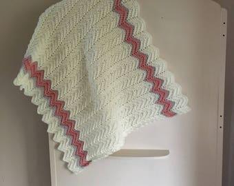Soft ripple crochet baby blanket.