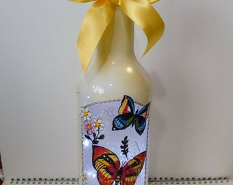 Stunningly beautiful glass bottle lamp with butterflies.