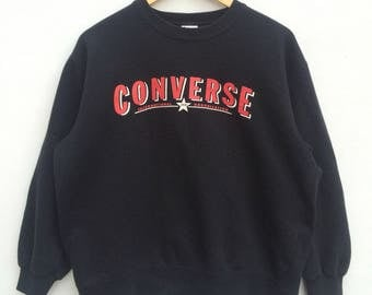 Converse Sweatshirt Black Colour Big Logo Embroidery Sweat Medium Size Jumper Pullover Jacket Sweater Shirt Vintage 90's