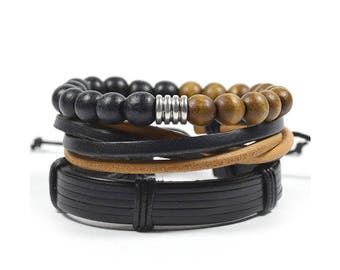 3 Pack Brown and Black Tibetan Bracelet Set