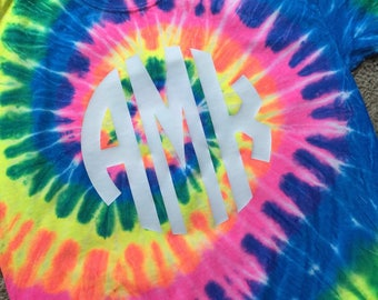 Monogrammed Tie Dye Long Sleeve Shirts!