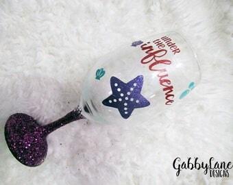 Custom glitter and vinyl wine glass