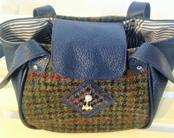 Harris Tweed and Navy Leather Lunch Bag