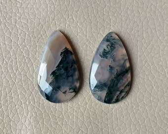 Moss Agate Cabochon Excellent Quality 100% Natural 62 Carat, One Side Cutting Moss Agate Gemstone, Size 36x22x7, 37x22x6 MM Approx.