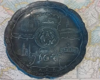 Antique 1909 Seattle Washington Yukon Alaska Pacific Exposition Souvenir Plate Collectible