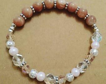 Natural Orange Moonstone beaded gemstone bracelet, 17cm wrist size