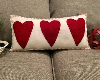 Wool Felt Pillow Hand Stitched Red White Farmhouse Style Valentine's Day Holiday Design Shabby Chic Primitive Country Farm Heart Hearts