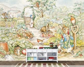 Rabbit wallpaper etsy for Beatrix potter mural wallpaper