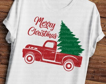 Merry Christmas svg, Antique Harvest Tree Truck svg, png, jpeg, Christmas svg, Pickup tree svg, dxf, cut file