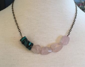 Rose quartz and turquoise aged brass necklace