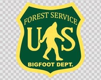 Sticker Decal US Forest Service Bigfoot Dept  80021