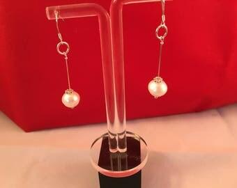 925 Sterling Silver Fresh Water Cultured Pearl Long Drop Earrings