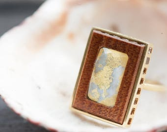 Sun Kissed Mother of Pearl & Ancient Kauri Wood Ring
