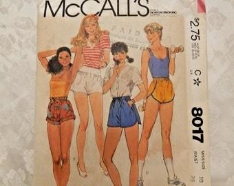 Vintage Clothing Pattern:  McCall's # 8017 SHORT SHORTS size 10 UNCUT 1982