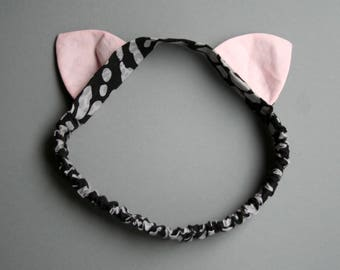Headband with cat ears, Elastic hair accessory, kids party outfit, cat costume, dress up party, children mask, spot print, fabric accessory.