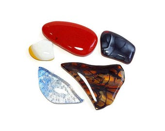 Fused Art Glass Cabochon Art Glass Designer Flat Cabochons lot 5 no whole cabochons wire wrapping fused Multi color