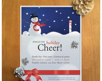 Snowman flyer for the Christmas (or x-mas) season. A winter holiday cheer flyer with a snowman.