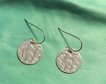 Personalized Engraved Monogram Dangle Earrings