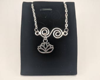 Silver anklet with Swirl details and lotus flower dangle charm, stainless steel chain, silver plated