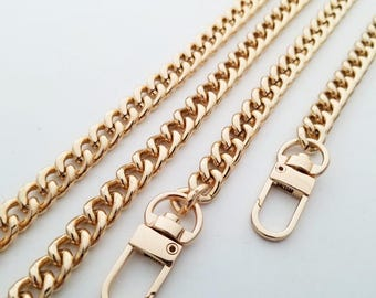 gold chain purse strap bag handbag strap handles gold handbag findings Replacement Chain Strap wholesale finished chain  width 9 mm 1pcs