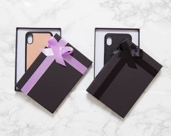 Black Gift Boxes  - A6 sized - Ideal for our phone cases, Luggage tags, card holders - choice of ribbons