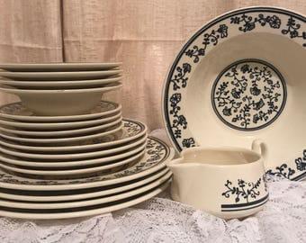 Ironstone Plates White & Blue Vintage