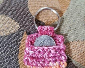 Crochet Aldi coin keychain.