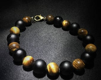 Tigers Eye and Black Bead Bracelet