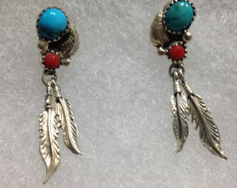 Silver, Real Turquoise and Real Coral Earrings, Post