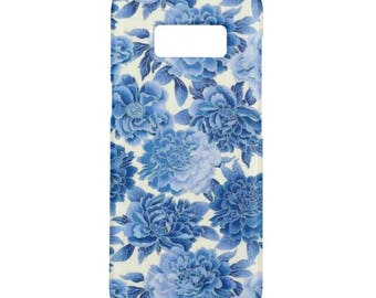 Blue flowers Case for Samsung galaxy S8 S8 Plus S7 S6 S5 Samsung Galaxy Note 8 Case
