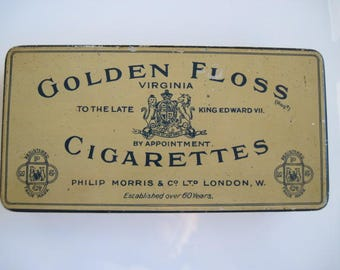 Golden Floss Cigarette Tin (50/empty) by Philip Morris & Co Ltd c.1930