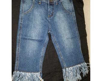 Girls blue denim jean with detail