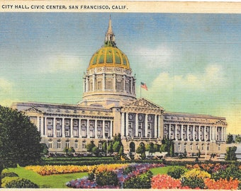 San Francisco Postcard  / Vintage Linen Postcard San Francisco City Hall Civic Center Building California Postcard Posted 1936