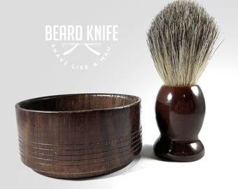 Hand carved Wood Shaving Bowl and Badger Hair Shaving Brush combo Beard Knife